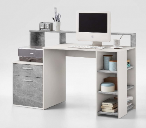 Sansa White and Grey Desk with Hutch - 2673